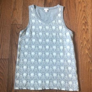 J. Crew gray and white embroidered flower tank top